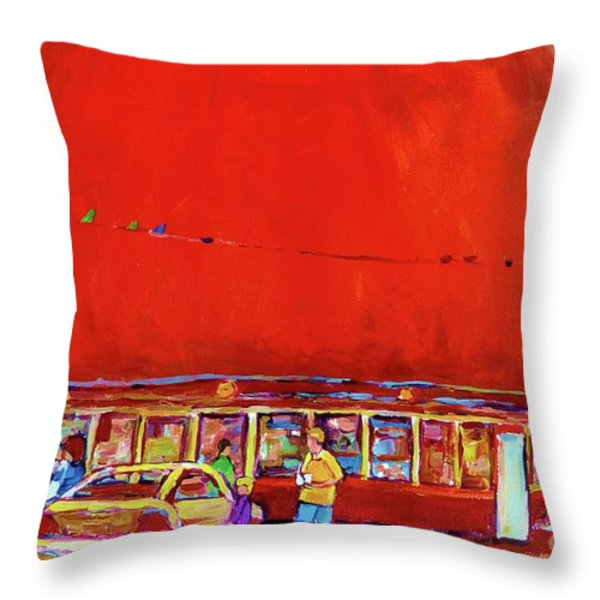 THE ORANGE JULEP MONTREAL SUMMER CITY SCENE Throw Pillow by CAROLE SPANDAU