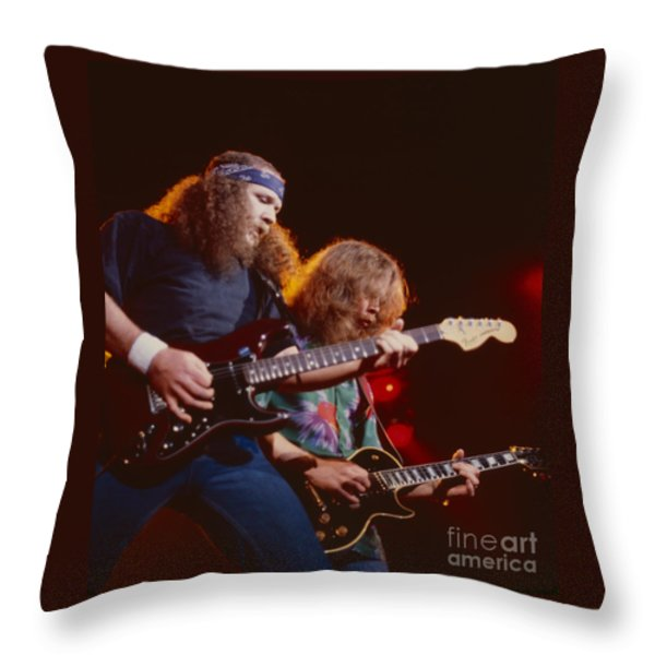 The Outlaws - Hughie Thomasson And Billy Jones Throw Pillow by Daniel Larsen