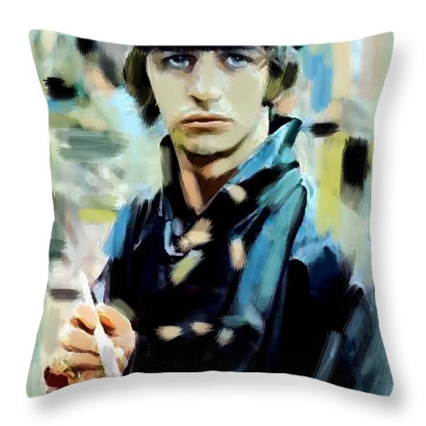 The Painted Heart  Ringo Starr Throw Pillow by Iconic Images Art Gallery David Pucciarelli