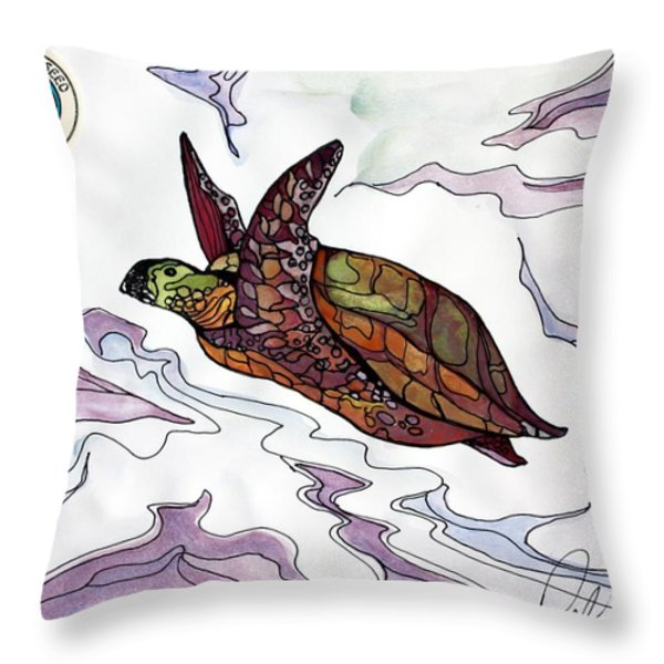 The Painted Turtle Throw Pillow by Pat Purdy