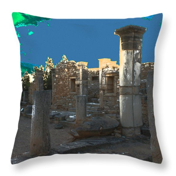 The Palaestra -temple Of Apollo Throw Pillow by Augusta Stylianou