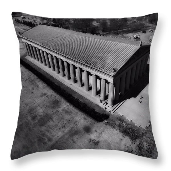 The Parthenon In Black And White Throw Pillow by Dan Sproul