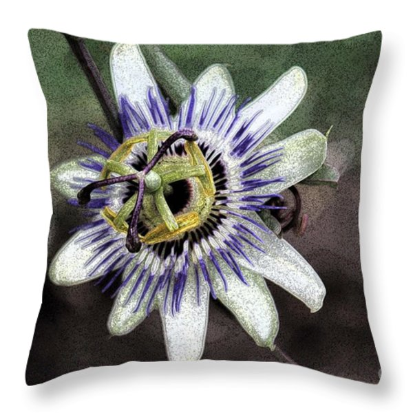 The Passion Flower in Abstract Throw Pillow by Janice Rae Pariza