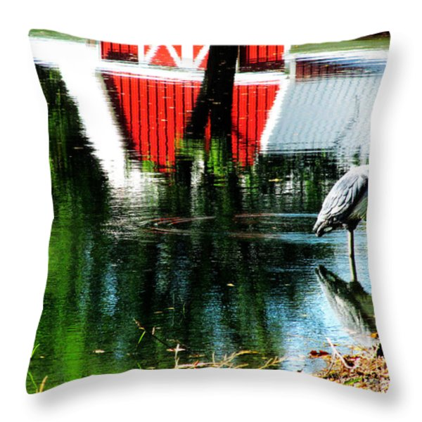 The Pelican Brief Stop Throw Pillow by Tina M Wenger