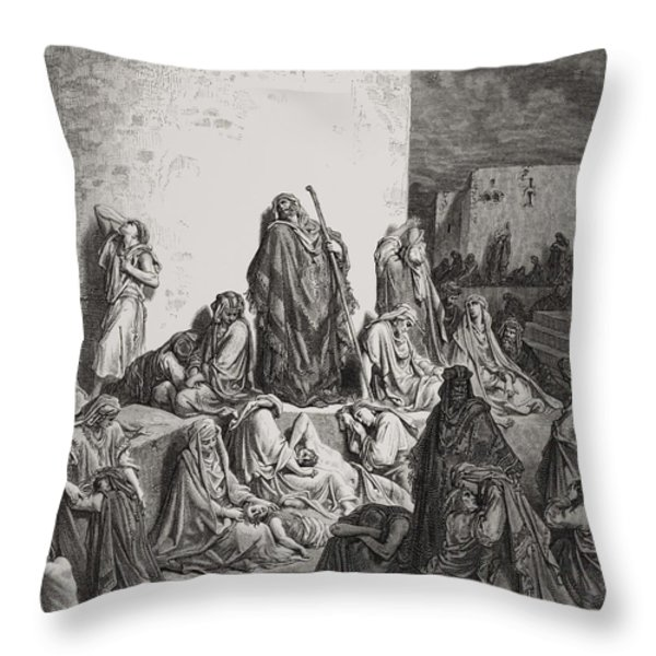 The People Mourning Over The Ruins Of Jerusalem Throw Pillow by Gustave Dore