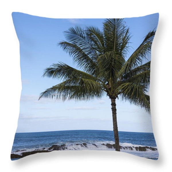 The Perfect Palm Tree - Sunset Beach Oahu Hawaii Throw Pillow by Brian Harig