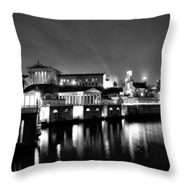 The Philadelphia Waterworks in Black and White Throw Pillow by Bill Cannon