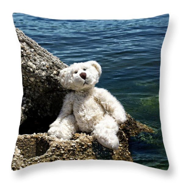 The Philosopher - Teddy Bear Art By William Patrick and Sharon Cummings Throw Pillow by Sharon Cummings