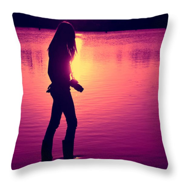 The Photographer Throw Pillow by Laura  Fasulo