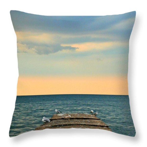 The Pier At Sunset Throw Pillow by Heather Allen