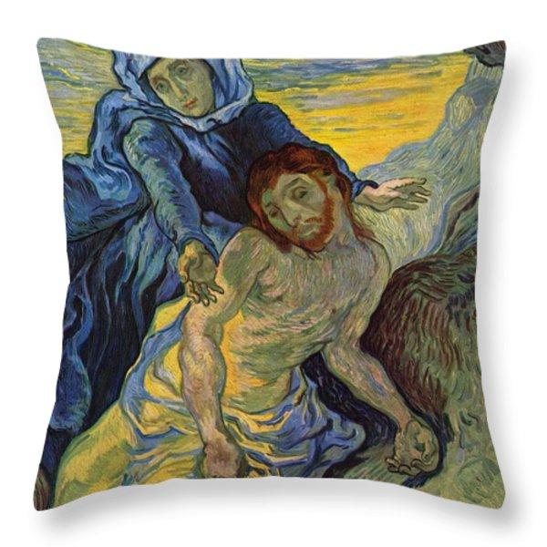 The Pieta After Delacroix 1889 Throw Pillow by Vincent Van Gogh