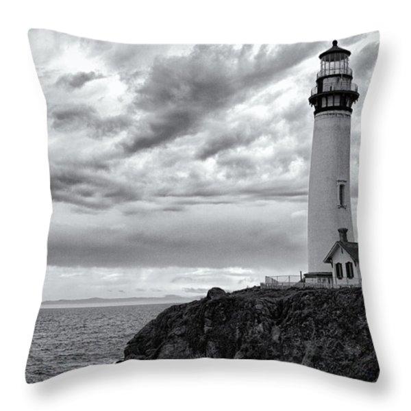 The Pigeon Point Beacon Throw Pillow by Eduard Moldoveanu