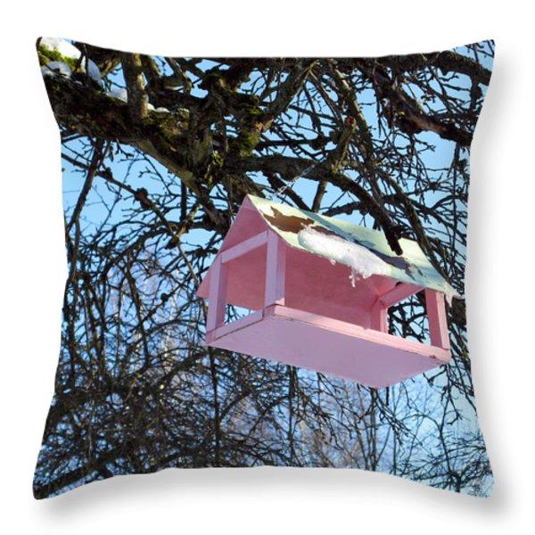 The Pink Bird Feeder Throw Pillow by Ausra Paulauskaite