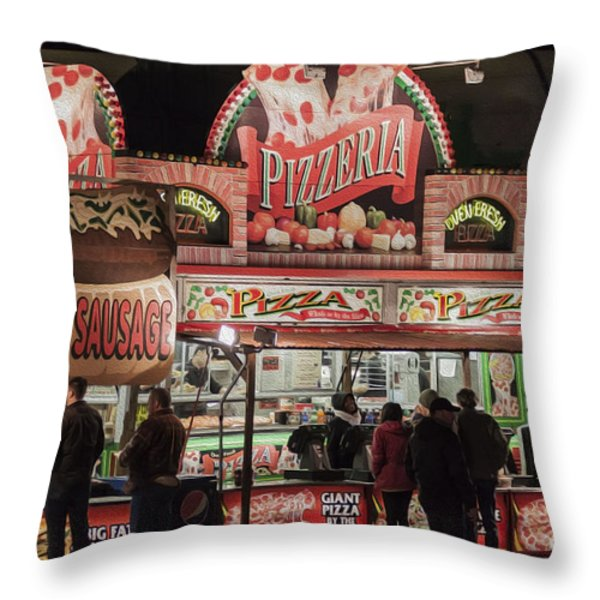 The Pizzeria in Neon Throw Pillow by Janice Rae Pariza