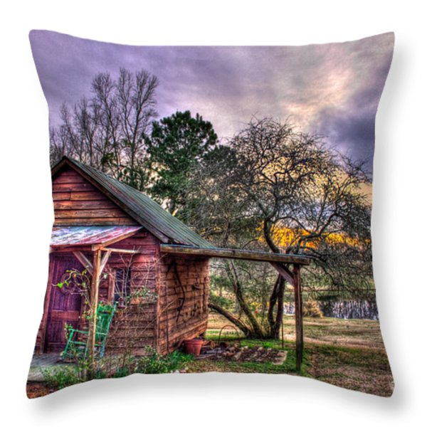 The Play House at Sunset near Lake Oconee. Throw Pillow by Reid Callaway