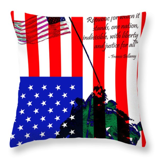 The Pledge of Allegiance - Iwo Jima 20130210 Throw Pillow by Wingsdomain Art and Photography