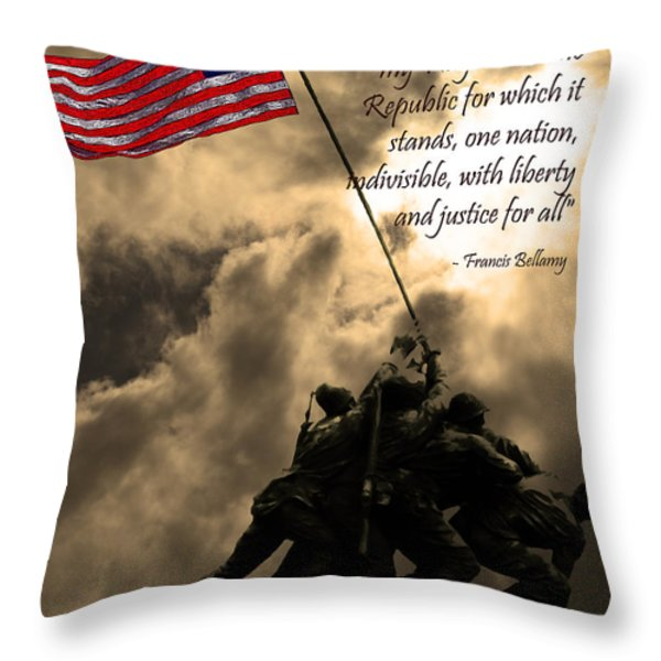 The Pledge of Allegiance - Iwo Jima 20130211v2 Throw Pillow by Wingsdomain Art and Photography