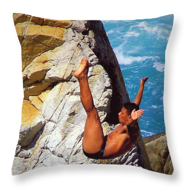 The Plunge   Throw Pillow by Karen Wiles