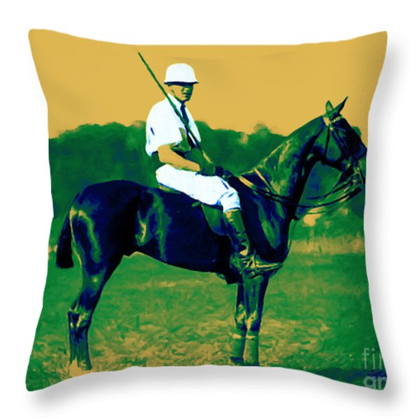The Polo Player - 20130208 Throw Pillow by Wingsdomain Art and Photography