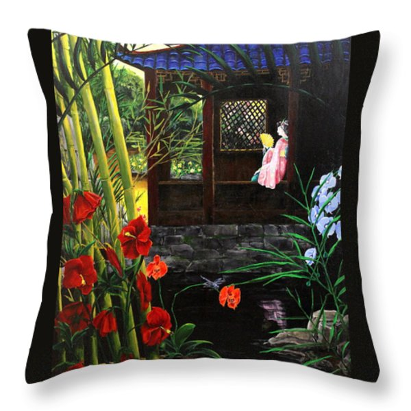 The Pond Garden Throw Pillow by D L Gerring