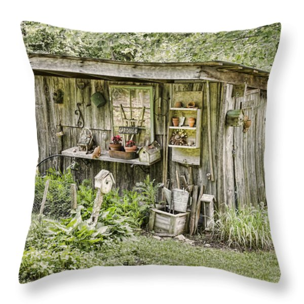 The Potting Shed Throw Pillow by Heather Applegate
