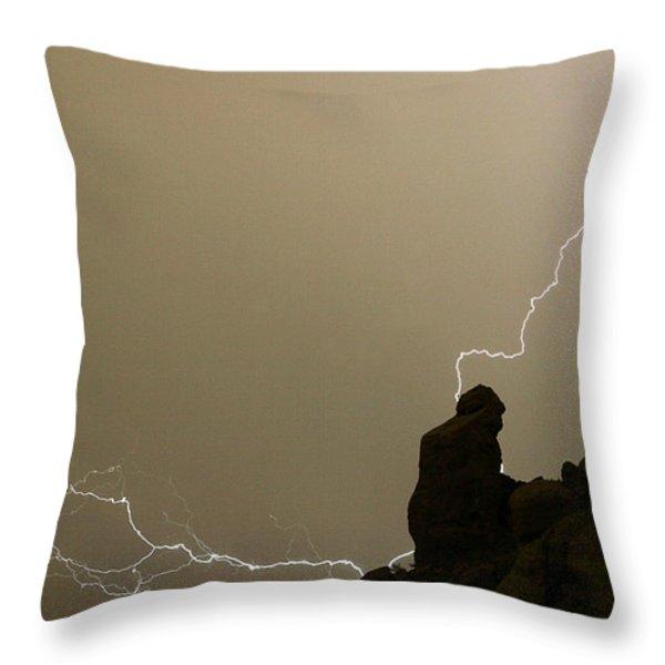 The Praying Monk Lightning Strike Throw Pillow by James BO  Insogna