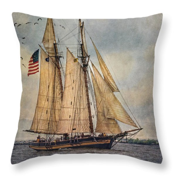 The Pride Of Baltimore II Throw Pillow by Dale Kincaid