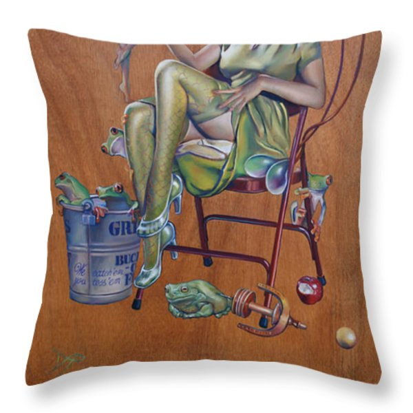 The Princess and the Frogs Throw Pillow by Patrick Anthony Pierson