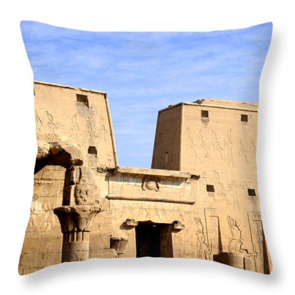 The Pylons of Edfu Temple Throw Pillow by Brenda Kean