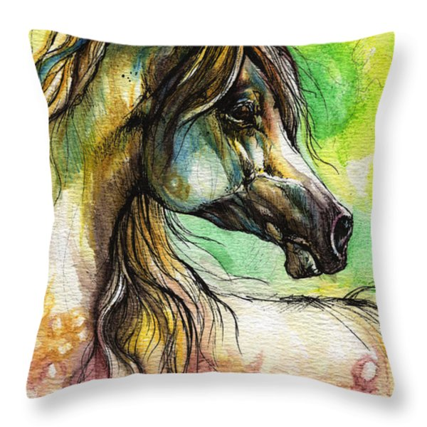 the rainbow colored arabian horse Throw Pillow by Angel  Tarantella