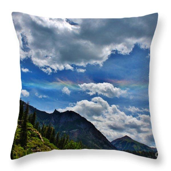 The Rare Phenomena Rainbows Throw Pillow by Janice Rae Pariza