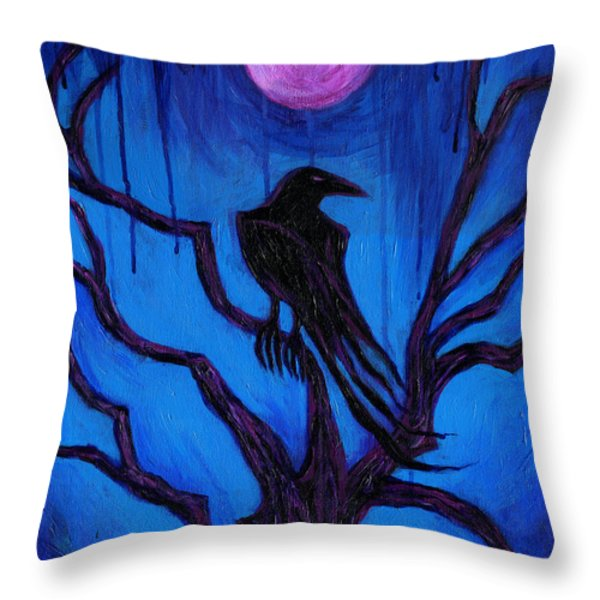 The Raven Nevermore Throw Pillow by Roz Abellera Art