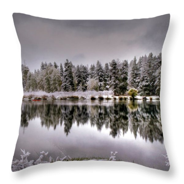 The Red Canoe Throw Pillow by Donna Kennedy