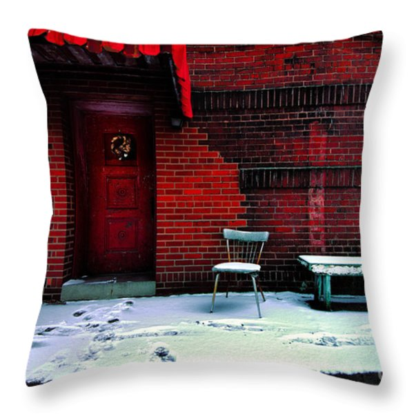 The Red Door Throw Pillow by Amy Cicconi