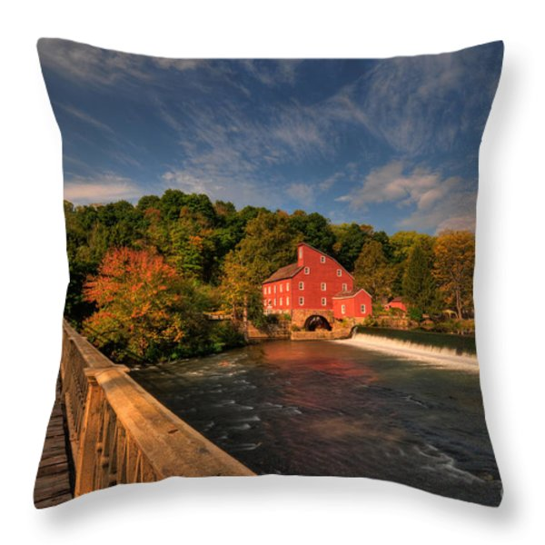 The Red Mill Throw Pillow by Paul Ward