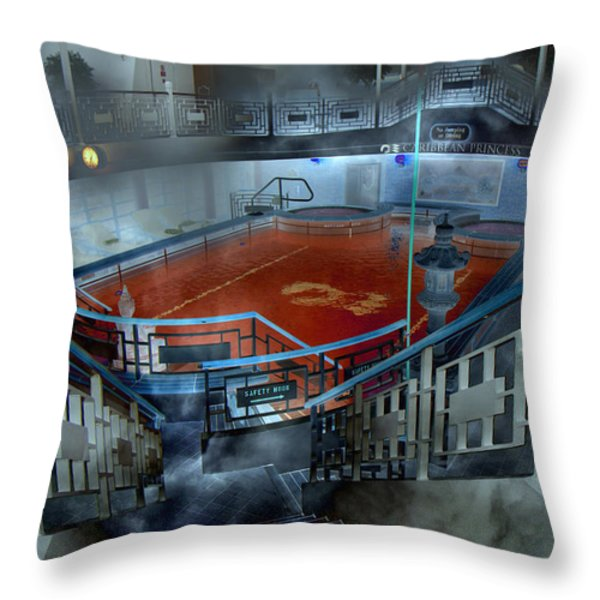 The Red Pool Throw Pillow by Betsy A  Cutler