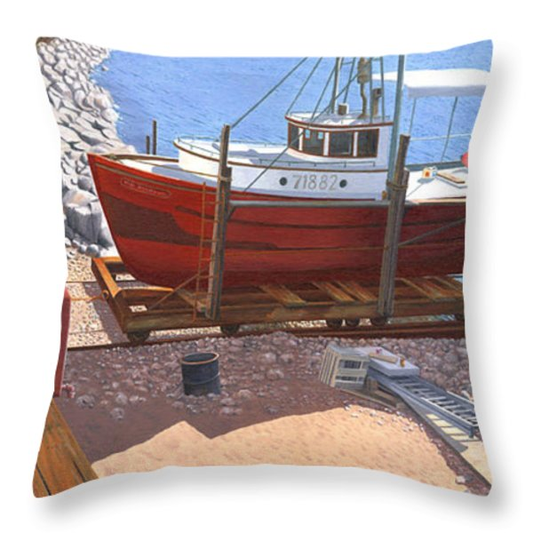 The Red Troller Throw Pillow by Gary Giacomelli