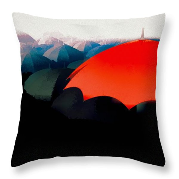 The Red Umbrella Throw Pillow by Bob Orsillo