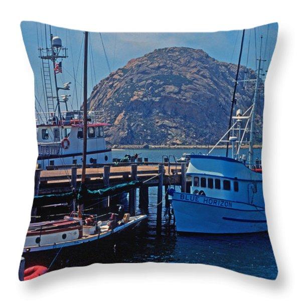 The Rock At Morro Bay Throw Pillow by Kathy Yates