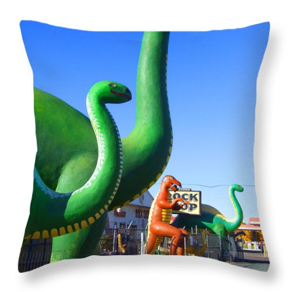 The Rock Shop Just Off Route 66 Throw Pillow by Mike McGlothlen