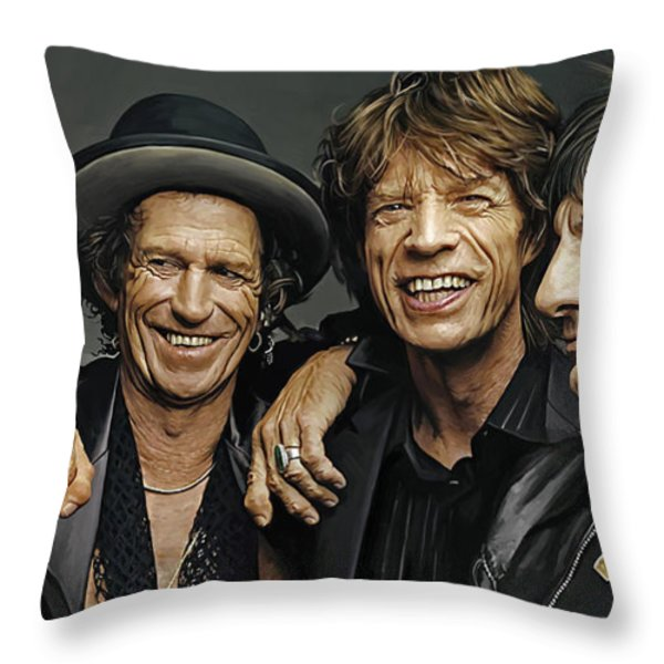 The Rolling Stones Artwork 1 Throw Pillow by Sheraz A