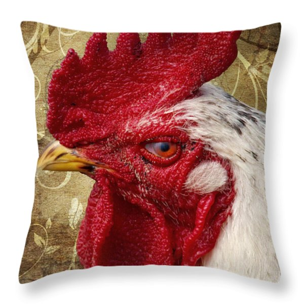 The rooster Throw Pillow by Angela Doelling AD DESIGN Photo and PhotoArt