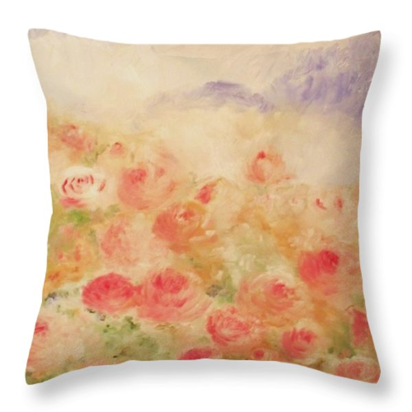The Rose Bush Throw Pillow by Laurie D Lundquist