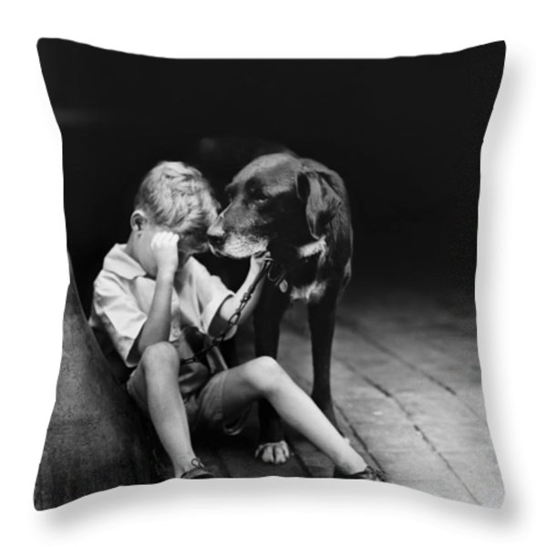 The sad boy circa 1921 Throw Pillow by Aged Pixel