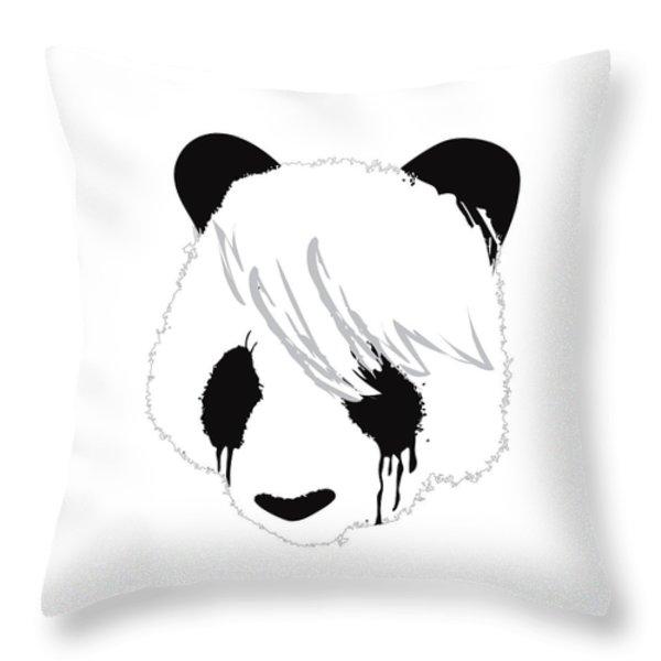 The Sad Panda Throw Pillow by Budi Kwan