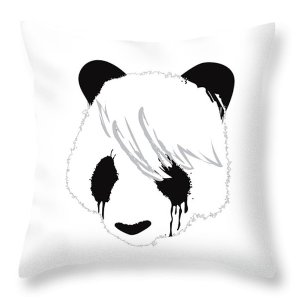 The sad panda Throw Pillow by Budi Kwan
