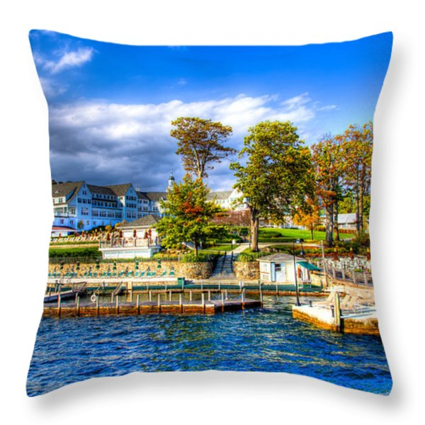 The Sagamore Hotel on Lake George Throw Pillow by David Patterson