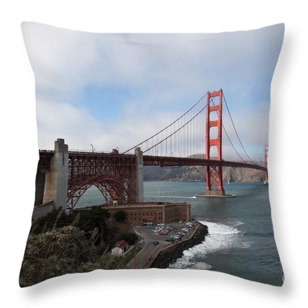 The San Francisco Golden Gate Bridge - 5D18909 Throw Pillow by Wingsdomain Art and Photography
