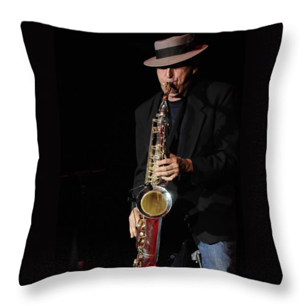 The Sax Man Throw Pillow by Kenny Francis