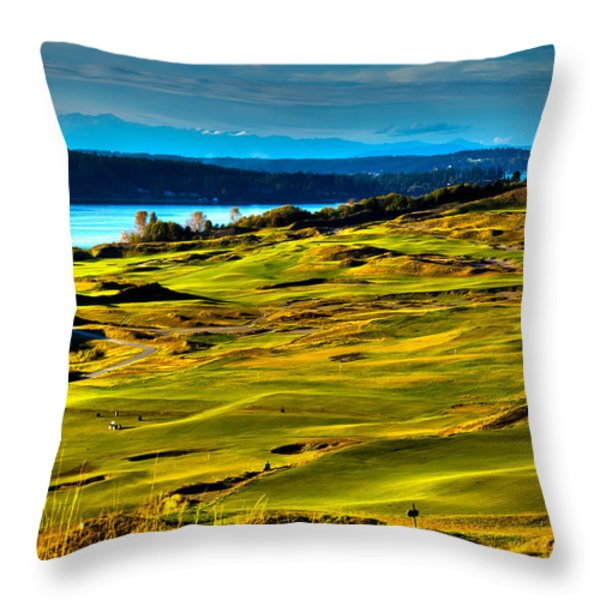 The Scenic Chambers Bay Golf Course - Location of the 2015 U.S. Open Tournament Throw Pillow by David Patterson